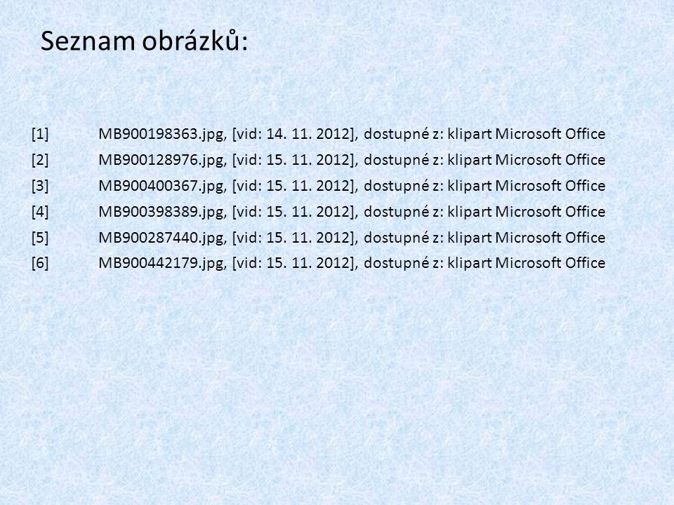 Seznam obrázků: [1] MB900198363.jpg, [vid: 14. 11. 2012], dostupné z: klipart Microsoft Office.